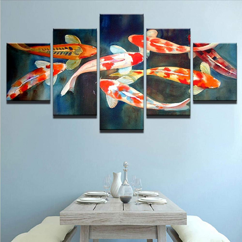 Wsxxnhh Cuadro Lienzo Tejido Pintura De La Lona Sala De Estar Cartel De La Parojo 5 Panel Colorido Fishs En Impresión De Imagen Modular Decoración Imágenes Niños Habitación-con Marco
