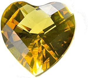 """Zoogamo 3"""" / 80 mm Yellow Diamond Heart Shaped Glass Crystal Paperweight – Home Office Decor & Valentine's Day Gift Wedding Favors Centerpieces Decoration with Gift Box"""