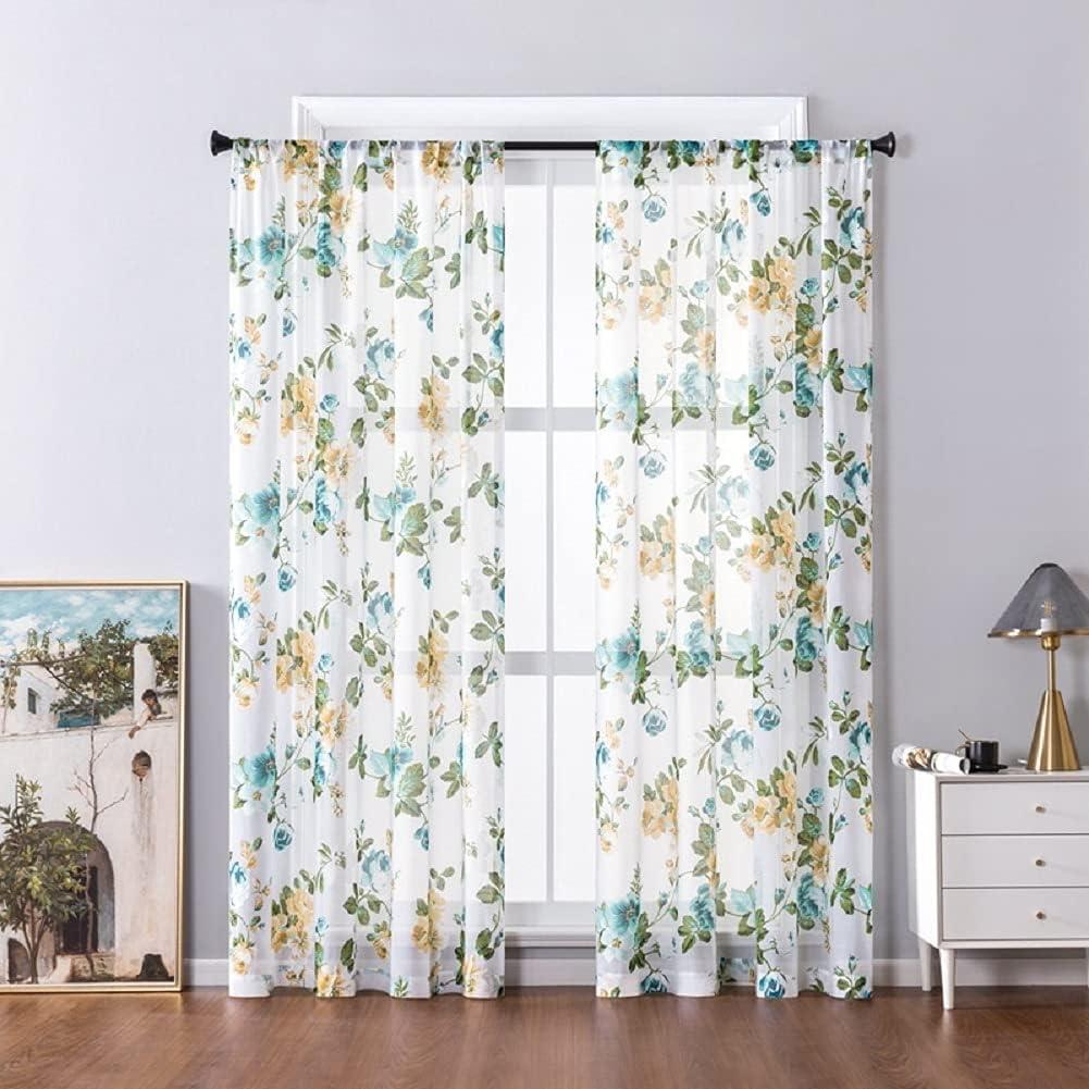 HooHero Sheer Curtains Voile Window Drape Peony Flower Pattern R