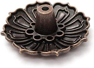 Lotus Bronze 9 Hoyos Placa de incensario para Quemador de Cono Porta inciensos Porta Incienso de Cobre de Nueve Agujeros (Color : Metallic)