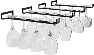 [4 Pack] Wine Glass Rack, 12 Inch Black Wall Mounted Under Cabinet Wine Glass Holder Iron Wire Glasses Storage Hanger Orga...