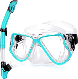 Greatever Dry Snorkel Set,Panoramic Wide View,Anti-Fog Scuba Diving Mask,Easy Breathing and Professional Snorkeling Gear f...