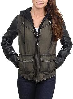 Women's Faded Denim Mixed Media Hooded Bib Jacket