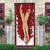 Pétalos de rosa 3Dcartel de puerta autoadhesivo, imagen de pared autoadhesiva DIY, papel tapiz impermeable de PVC-95cm(W)*215cm(H)