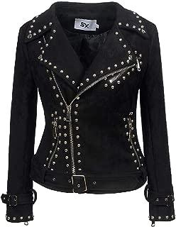 Macondoo Women's Casual Oblique Zipper Punk Faux Leather Coat Biker Jackets