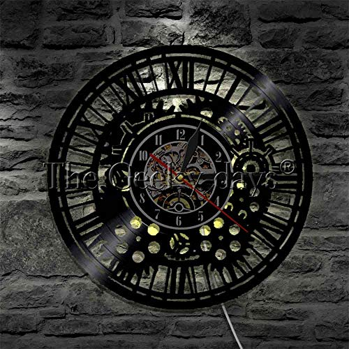 xcvbxcvb Steampunk gear mechanism LED hanging light vinyl record wall clock gear multicolor decorative lighting