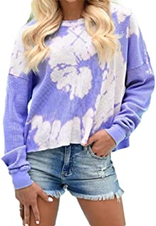 MogogNWomen Floral Print Casual Leisure Blouse Crew Neck Long-Sleeve T-Shirt