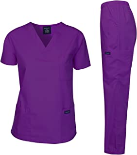 Dagacci Medical Uniform Woman and Man Scrub Set Unisex Medical Scrub Top and Pant, PURPLE, S