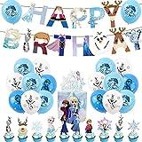 Hilloly Frozen Fiesta Cumpleaños Decoración, Frozen Party Decoraciones, 42PCS Frozen Decoración de Fiesta de Cumpleaños, Banner de Feliz Cumpleaños, Primeros de la Torta Para