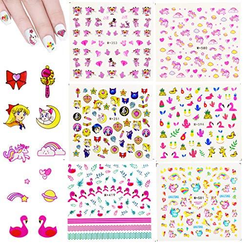 Nagelsticker - INTVN 12 Blatt Einhorn Nail Art Aufkleber 3D-Design selbstklebende Tipp Nail Art Sticker Decals (6 Farbe Muster)