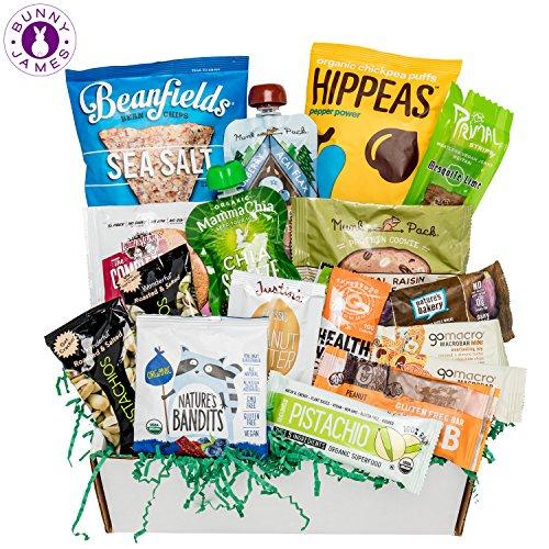Healthy Vegan Snacks Care Package: Mix of Vegan Cookies, Protein Bars, Chips, Vegan Jerky, Fruit & Nut Snacks, Holiday Vegan Gift Box