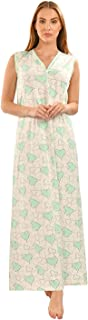 Habiba Cotton Heart-Pattern Button-Front Sleeveless Maxi Nightgown for Women - Off White and Green, L