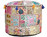 Aakriti Gallery Indian Pouf Footstool Ethnic Embroidered Pouf Cover, Indian Cotton Round Pouffe Ottoman Pouf Cover Pillow Ethnic Decor Art - Cover Only (18x13inch) (Beige)