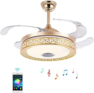 RuiWing 42in Ceiling Fan Light with Build-in Wireless Bluetooth Speaker 4 Retractable Blades 3-Speeds 3-light-Colors Chand...