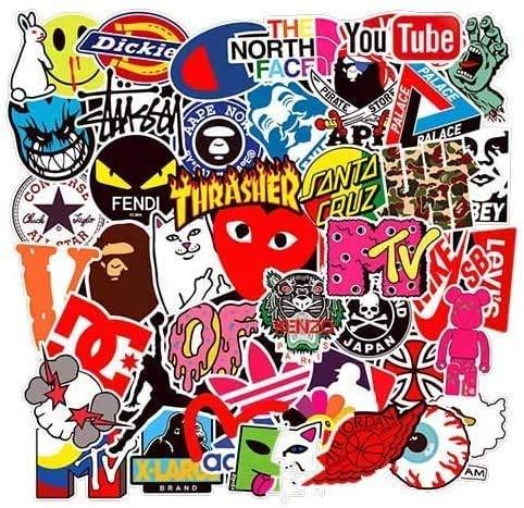 200pcs Cool Brand Pegatinas Calcomanías Stickers Pack Teens Decals para Portátiles Frasco hidráulico, Tabla de Snowboard, Equipaje, Motocicleta, iPhone, MacBook, Pared, Calcomanías de Bricolaje…