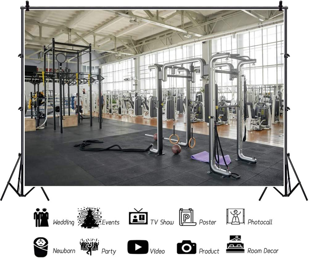 DORCEV 10x7ft Gym Interior Backdrop Indoor Sports Fitness Room Photography Background Muscle Training Wellness Fitness Equipment Healthy Exercise Kids Adult Vlogger Blog Portrait Photo Studio Props