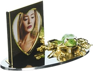 Matashi Crystal Studded Frog Figurine Gold Plated Picture Frame