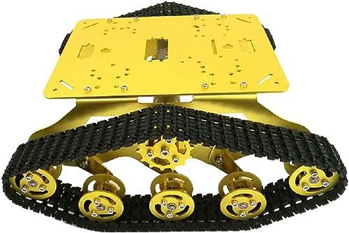 Homyl Metall Roboter Chassis   Plattform   fürgestell mit Motor Track Stoßdämpfür r Schrauben und Sechskantschlüssel - Gold 9v