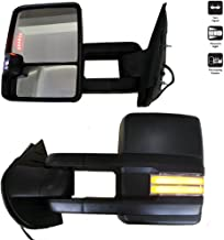 XXHY New 2pcs Power Heated Manually Telescoping and Folding Dynamic Blinks Turn Signal Light+Smoke Parking+Backup Lights+Clearance Lights+ Black Housing Towing Mirrors for 1988-2000 Chevy GMC C/K
