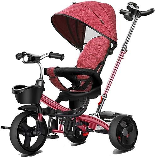 DONGLIAN Tricycle pour Enfants, Pédale Extérieure 3 Brouettes, Auvent Réglable, Mise en Oeuvre Avant Et Arrière dans Les Deux Sens (Couleur   rouge)