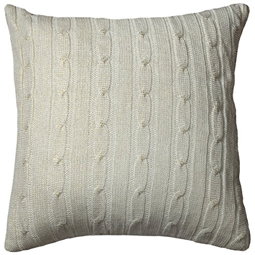 Rizzy Home Cable Knit con lámina Decorativa Almohada, Crema, 18'x 18'