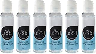 All Good Hand Sanitizer Gel - Moisturizing Aloe Vera, Calendula, Chamomile - Travel Size (2 oz)(6-Pack)