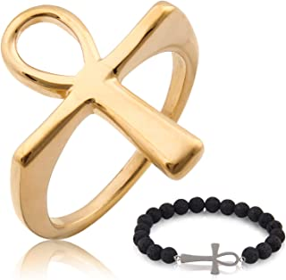 Gungneer Ankh Cross Hollow Ring Egyptian Jewelry Stainless Steel Lucky Protection Pharaoh Egypt Talisman Amulet