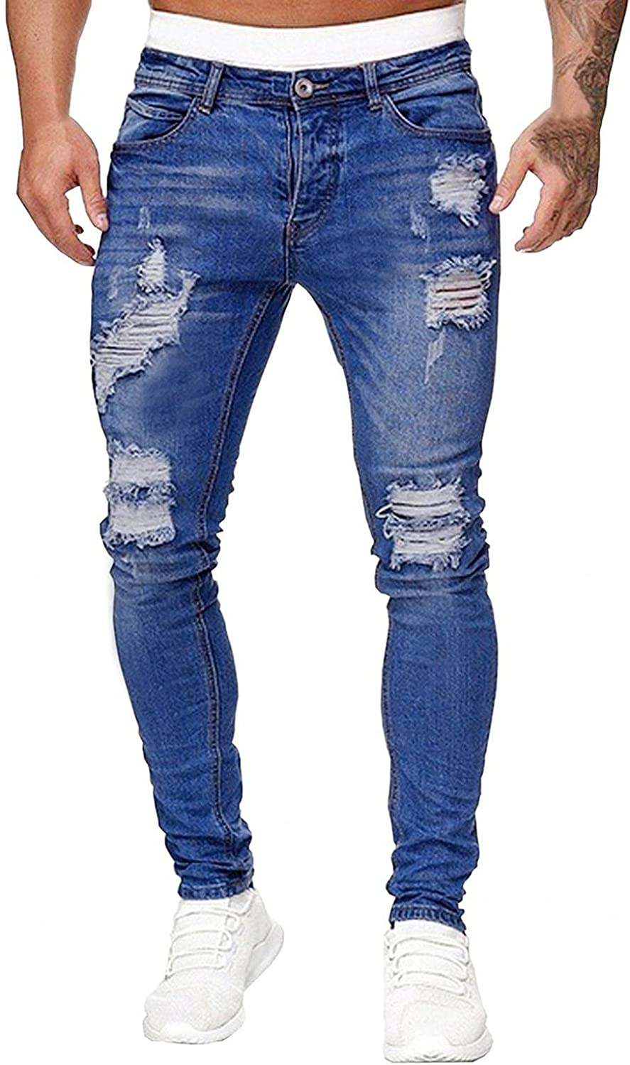 FUNEY Men's Ripped Distressed Destroyed Slim Fit Straight Leg Denim Jeans Casual Stretchy Vintage Biker Bootcut Jeans