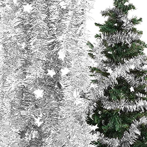 decorazioni natalizie argento BETESSIN 6pz Ghirlanda Natalizia 12m Festone Natalizio Ghirlanda di Natale con Stelle Decorazione dell'albero di Natale Capodanno Vacanze per Casa Interni ed Esterni Fai da Te