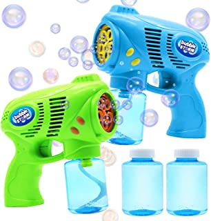JOYIN 2 Bubble Guns with 2 Bottles Bubble Refill Solution (10 oz Total) for Kids, Bubble Blower for Bubble Blaster Party Favors, Summer Toy, Outdoors Activity, Birthday Gift