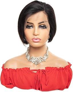 VTAOZI Straight Short Pixie Cut Wigs for Black Women Brazilian Human Hair 13x4 Pixie Cut Lace Front Wigs Natural Color