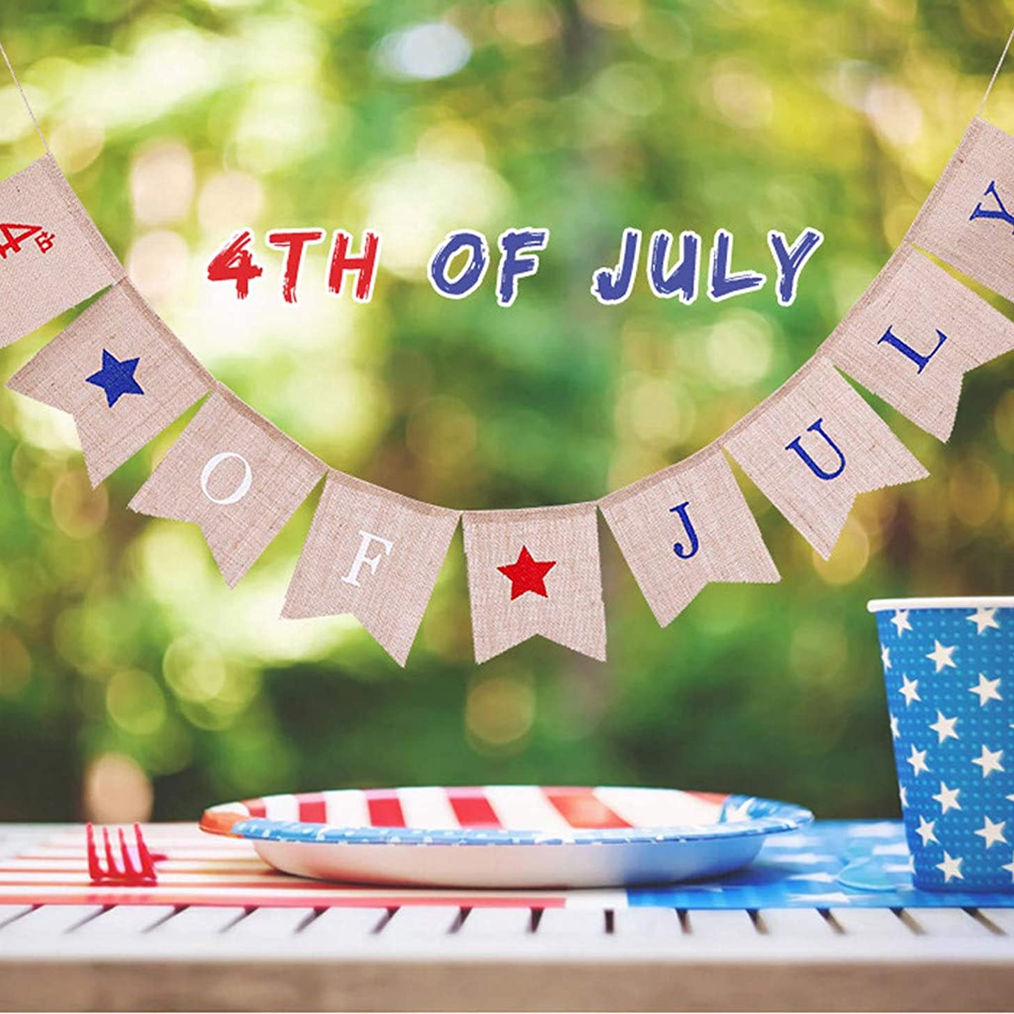 4thof July Banner,Fheaven USA Independence Day Banner Festival Layout Outdoor Interior Ceiling Decoration