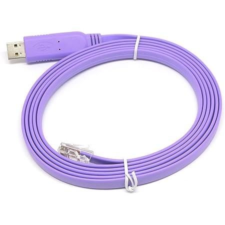 KAUMO USB RJ45 シリアル コンソールケーブル FTDI チップ(Cisco Juniper などに対応) (2.0m, パープル)