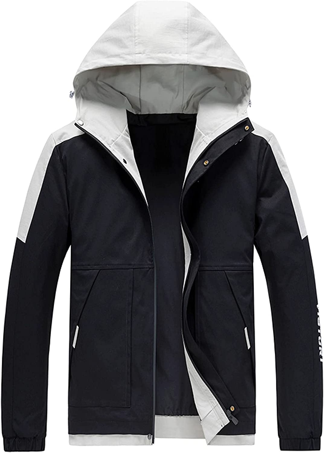 Tops for Men Fleece Pocket Zipper Color Solid Fly Coat Max 55% OFF Hooded Fl Spring new work one after another