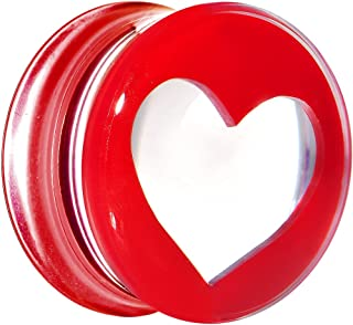 "Body Candy 5/8"" Clear Red Acrylic Adoring Heart Saddle Ear Gauge Plug (1 Piece)"