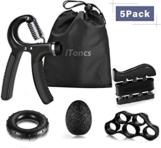 Hand Grip Strengthener,  iToncs Grip Strength Trainer (5 Pack) with Finger Exerciser,  Forearm Grip Workout,  Finger Stretcher,  Stress Relief Ball,  Grip Ring,  Wrist Strengthener for Men and Women