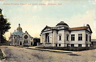 Anderson Indiana Central Christian Church Street View Antique Postcard K106053