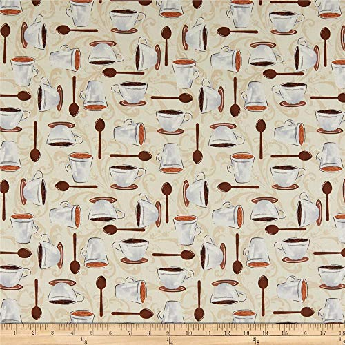 Whistler Studios Dark Roast Cups On Scroll Latte Quilt Fabric
