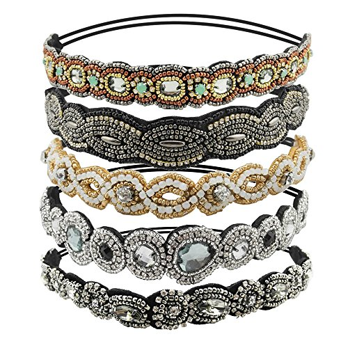 Inspirelle 5 Pack Rhinestone Beaded Elastic Headband, Fashionable Handmade Crystal Beaded Elastic Hairbands Lady Women Girls Hair Jewelry Accessories