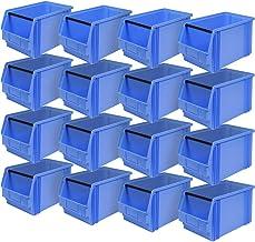"""16 cajas de visión""""Classic"""" FB 3 con barra de soporte, 350 x 200 x 200 mm, 12 litros, color azul"""