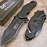 MTech USA MT-A845BK Spring Assist Folding Knife, Black Blade, Black Handle, 5-Inch Closed