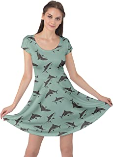فستان قصير الأكمام للنساء من CowCow مطبوع عليه صورة حيوانات بحرية وسمكة قرش وأخطبوط بطريق بحر وحيوانات بحرية مقاس XS-5XL
