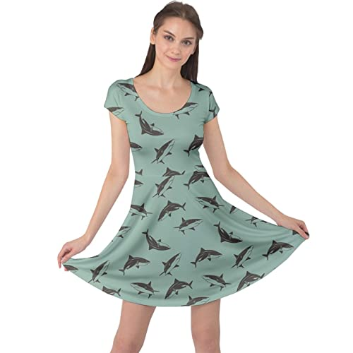e05e39faeb23 CowCow Womens Whales Marine Ocean Shark Octopus Crab Penguins Sea Animal  Short Sleeve Dress