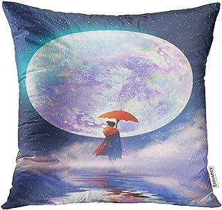 Ducan Lincoln Pillow Case Fundas De Cojín Fundas Azul Noche Mujer con Paraguas Rojo De Pie sobre El Agua contra La Luna Llena Pintura Funda Cojín Funda De Almohada Funda Cuadrada Imprimir