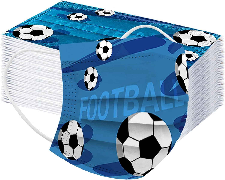 MaNMaNing Mascarillas Adultos, Impresión de fútbol, 50 Unidades con Elástico para Los Oídos, Copa de Europa y Mundial