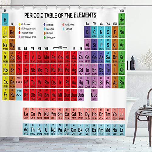 ABAKUHAUS Periodensystem Duschvorhang, Klassisch lebendig, Bakterie Schimmel Resistent inkl. 12 Haken Waschbar Stielvoller Digitaldruck, 175 x 240 cm, Multicolor