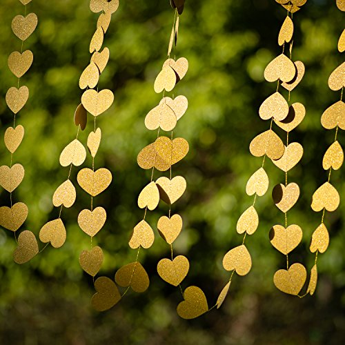 KOKER Heart Shaped Hanging Paper Confetti - Paper Glitter Champagne Gold Garland Bunting for Party - Golden Paper Bunting Banner Decoration for Weddings or Parties Backdrop,13 Feet/4 m