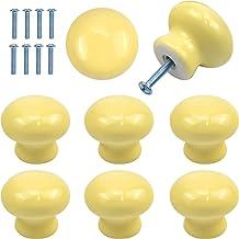 8 Pack deurknoppen voor kinderen, 35 mm ronde kast knoppen, gele keramische kast handgrepen en knoppen, meubels trekgrepen...