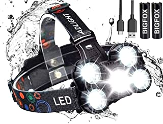 COOLEAD 5 LED Ultra Bright 10000 Lumens Headlamp with 2 Powerful Rechargeable Batteries,Zoomable Head Lights Up to 100m wi...