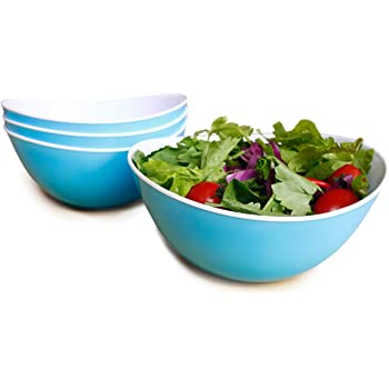 Honla 48 Oz Pasta Salad Bowls,Set of 4,Unbreakable Plastic and Wavy Rim,2 Tone,Light Blue and White